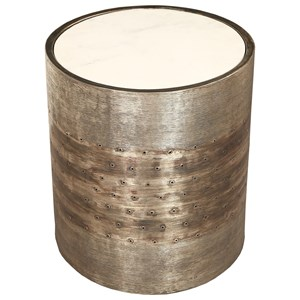 Contemporary Cylindrical Spot Table with Marble Top