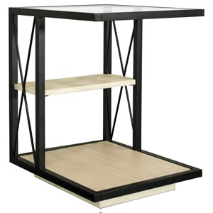 Contemporary Rectangle Side Table with Glass Top