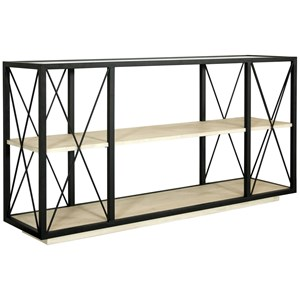 Contemporary Rectangle Console Table with Glass Top