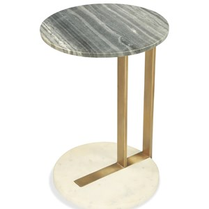 Round Side Table with Marble Top and Base