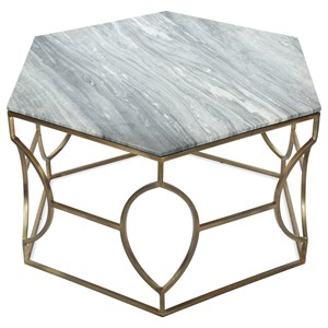 Hexagon Coffee Table with Marble Top