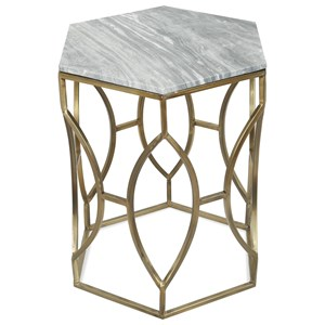 Hexagon Side Table with Marble Top