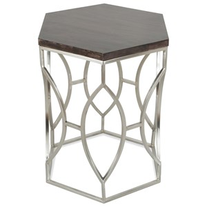 Hexagon Side Table with French Roast Wood Top