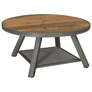 Industrial Round Cocktail Table with Reclaimed Wood Top