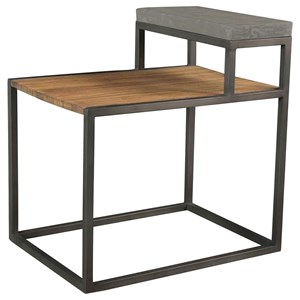 Industrial Step Side Table with Faux Concrete Shelf