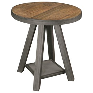 Industrial Round Side Table with Reclaimed Wood Top