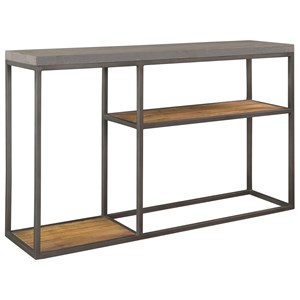 Industrial Console Table with Faux Concrete Top