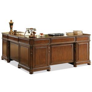 Large Cherry L Desk and Return