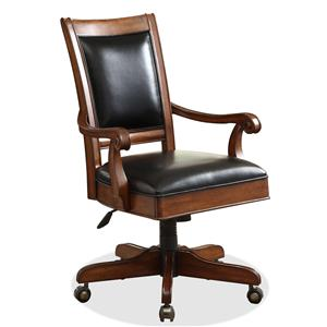 Caster Equipped Wooden Desk Chair with Leather Covered Seat
