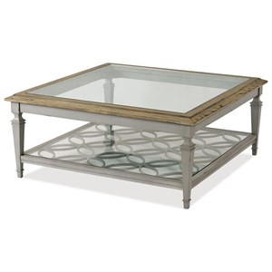 Cottage Square Cocktail Table with Glass Top and Open Lower Shelf