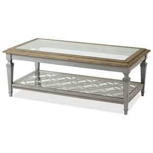 Cottage Cocktail Table with Glass Top and Open Lower Shelf