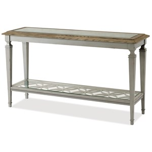 Cottage Sofa Table with Glass Top and Open Lower Shelf