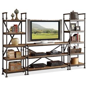 Open Entertainment Wall Unit with 12 Shelves