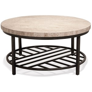 Round Cocktail Table with Travertine Stone Table Top