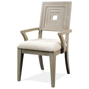 Upholstered Wood Back Arm Chair