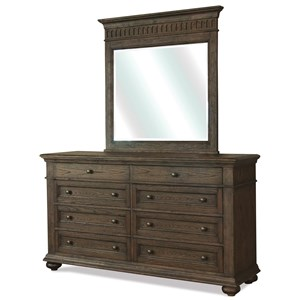 Traditional 8 Drawer Dresser and Portrait Mirror Combo