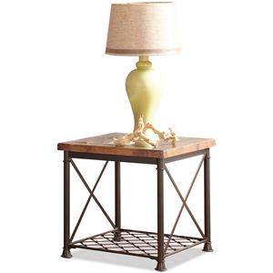 End Table with Metal Wire Shelf