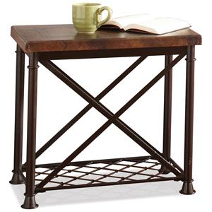 Chairside Table with Metal Wire Shelf