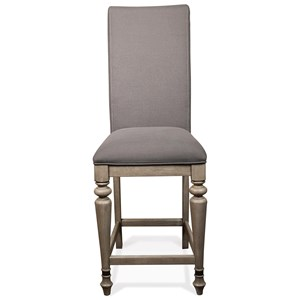 Upholstered Counter Stool with Front Turned Legs