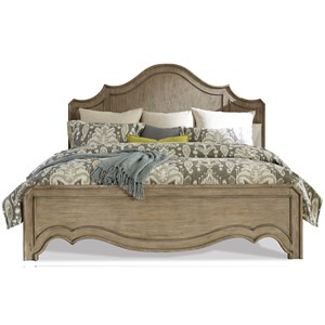 King Curved Panel Bed in Sun-Drenched Acacia Finish