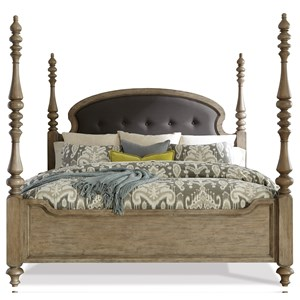 King Upholstered Poster Bed in Sun-Drenched Acacia Finish