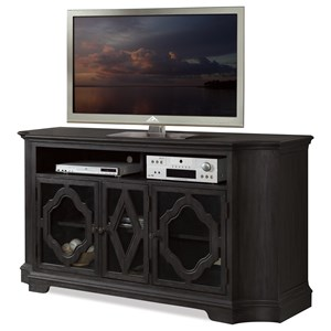TV Console with Decorative Wood Motif Overlays