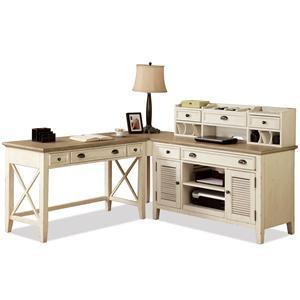 Riverside Furniture Coventry Two Tone Corner Writing Desk & Credenza with Hutch