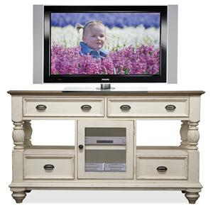 4 Drawer Tall TV Console with Framed Glass Door