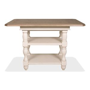 Counter Height Dining Table with 2 Lower Inlay Shelves