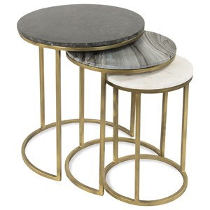 Nesting End Table Group with Tricolor Marble Tops