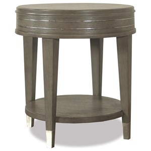 Round End Table with Mirrored Accents