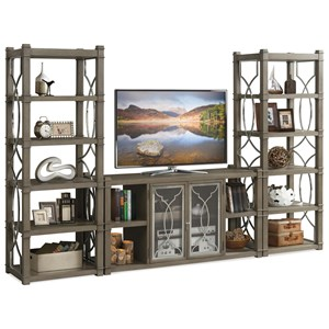 Entertainment Wall Unit with Decorative Metal Lattice