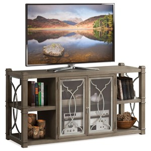 TV Stand with Glass Doors and Decorative Metal Lattice