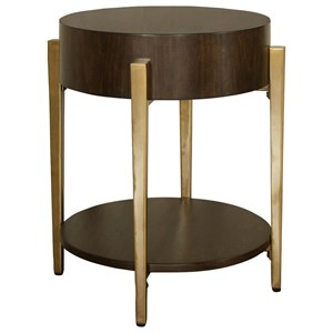 Round End Table with Gold Legs