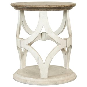 Round End Table with Diamond Motif Base