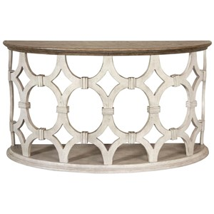 Demilune Sofa Table with Circle Motif Base