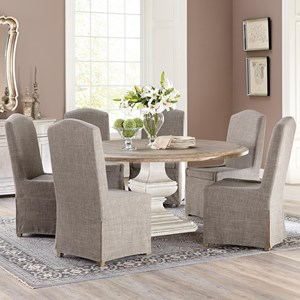 7 Piece Round Pedestal Table and Host Chair Set