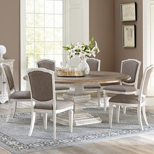 7 Piece Round Pedestal Table and Side Chair Set