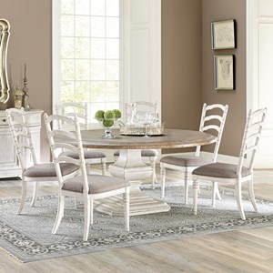 7 Piece Round Pedestal Table and Ladderback Chair Set