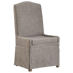 Upholstered Host Chair in Gray Fabric