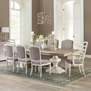 9 Piece Double Pedestal Table and Upholstered Chair Set