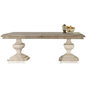 "Double Pedestal Rectangular Dining Table with 22"" Leaf"