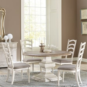 5 Piece Round Table and Ladderback Chair Set