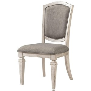 Upholstered Side Chair in Gray Fabric