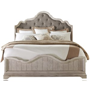 California King Upholstered Arch Bed with Button Tufting
