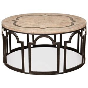 Contemporary Rustic Round Cocktail Table with Reclaimed Wood Top