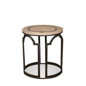 Contemporary Rustic Round End Table with Reclaimed Wood Top