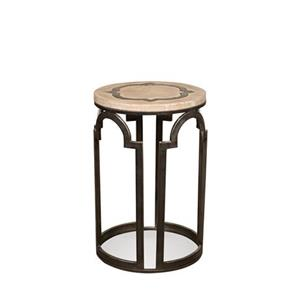 Contemporary Rustic Round Chairside Table with Reclaimed Wood Top