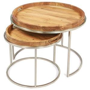 Industrial Nesting Cocktail Table with Removable Tray Top