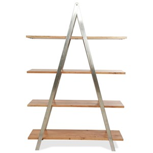 Industrial Etagere with Solid Wood Shelves